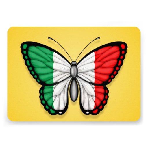 Drapeau italien de papillon sur le jaune bristols personnalisés
