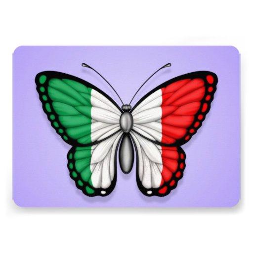 Drapeau italien de papillon sur le pourpre faire-parts