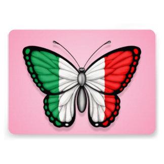 Drapeau italien de papillon sur le rose invitations