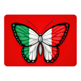 Drapeau italien de papillon sur le rouge carton d'invitation  12,7 cm x 17,78 cm