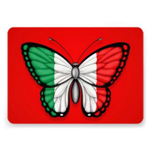 Drapeau italien de papillon sur le rouge cartons d'invitation personnalisés