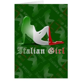 Drapeau italien de silhouette de fille carte de vœux