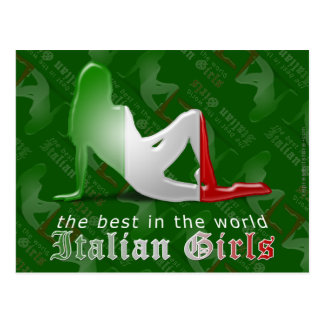 Drapeau italien de silhouette de fille cartes postales