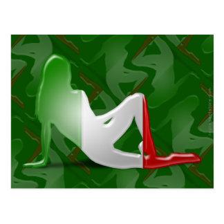 Drapeau italien de silhouette de fille carte postale