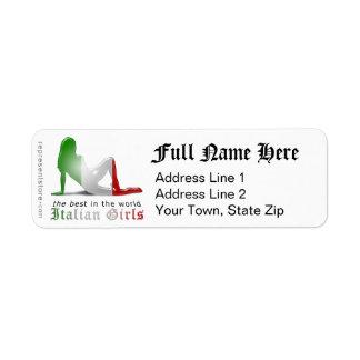 Drapeau italien de silhouette de fille étiquette d'adresse retour