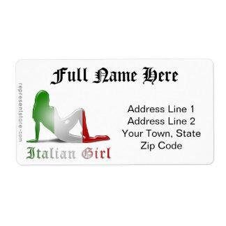 Drapeau italien de silhouette de fille étiquette d'expédition