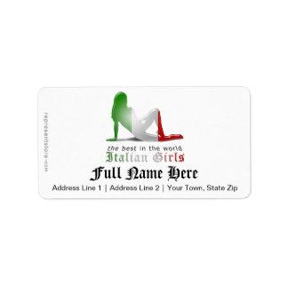 Drapeau italien de silhouette de fille étiquette d'adresse