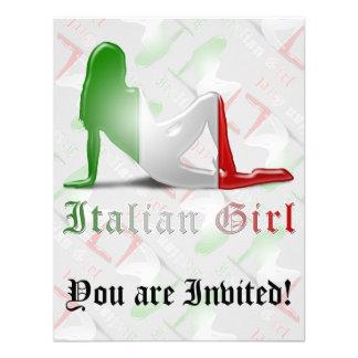 Drapeau italien de silhouette de fille invitations personnalisées