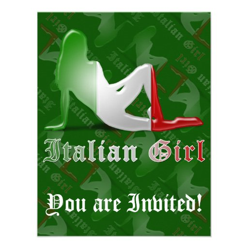 Drapeau italien de silhouette de fille faire-parts