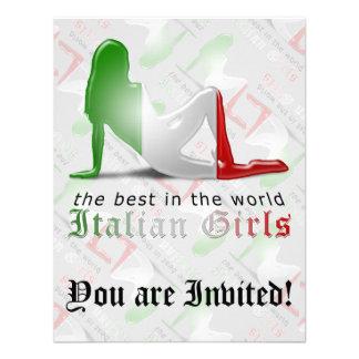 Drapeau italien de silhouette de fille invitations