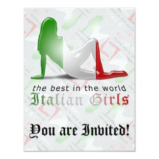 Drapeau italien de silhouette de fille carton d'invitation 10,79 cm x 13,97 cm