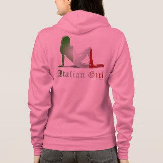 Drapeau italien de silhouette de fille veste à capuche