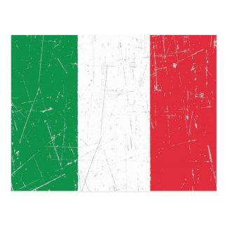 Drapeau italien éraillé et rayé cartes postales