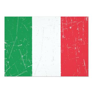 Drapeau italien éraillé et rayé cartons d'invitation personnalisés