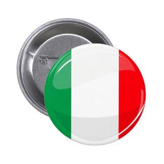 Drapeau italien rond brillant badge rond 5 cm