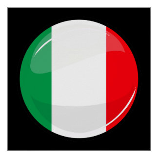 Drapeau italien rond brillant poster