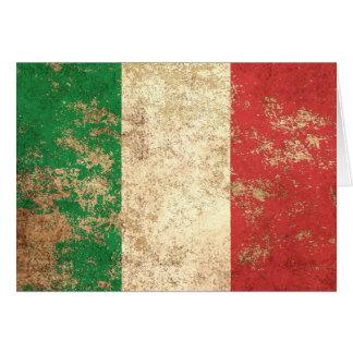 Drapeau italien vintage âgé rugueux carte de vœux