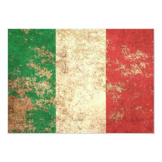Drapeau italien vintage âgé rugueux carton d'invitation  12,7 cm x 17,78 cm