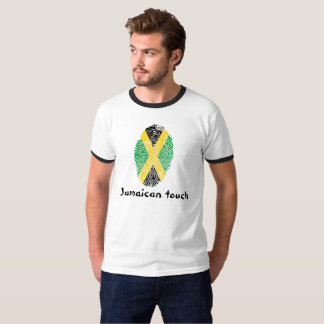 Drapeau jamaïcain d'empreinte digitale de contact t-shirt
