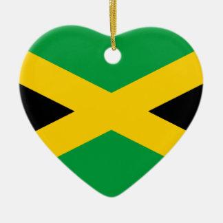 Drapeau jamaïcain ornement cœur en céramique