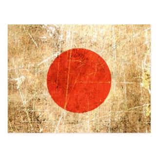 Drapeau japonais vintage rayé et porté carte postale