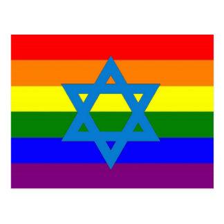 Drapeau juif de gay pride carte postale