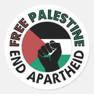 Drapeau libre de la Palestine d'apartheid de fin Sticker Rond