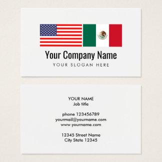 Drapeau mexicain américain anglais espagnol de cartes de visite