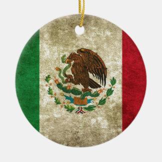 Drapeau mexicain ornement rond en céramique