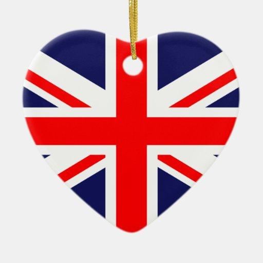 drapeau national britannique du royaume uni ornement c ur en c ramique zazzle. Black Bedroom Furniture Sets. Home Design Ideas