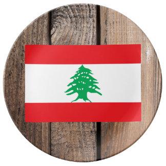 Drapeau national du Liban Assiette En Porcelaine