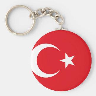 Drapeau national du monde de la Turquie Porte-clé Rond