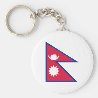 Drapeau national du monde du Népal Porte-clé Rond