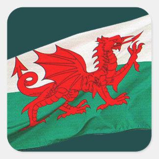 Drapeau national du Pays de Galles, le dragon Sticker Carré