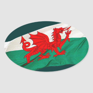 Drapeau national du Pays de Galles, le dragon Sticker Ovale