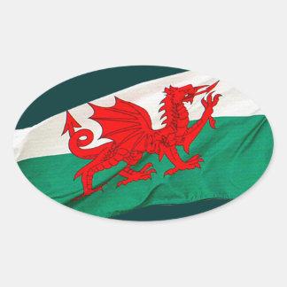 drapeau national du pays de galles le dragon sticker ovale