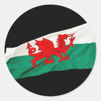 Drapeau national du Pays de Galles, le dragon Sticker Rond