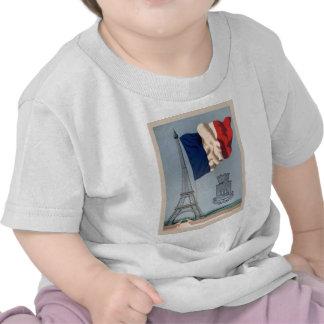 Drapeau national français vintage et Tour Eiffel T-shirts