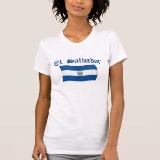 Drapeau national onduleux du Salvador T-shirt