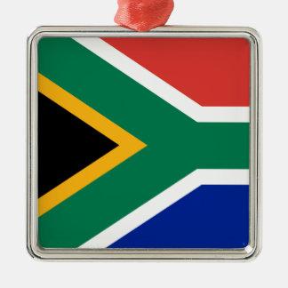 Drapeau national sud-africain ornement carré argenté