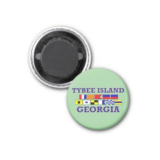 Drapeau nautique d'île de Tybee - aimant rond