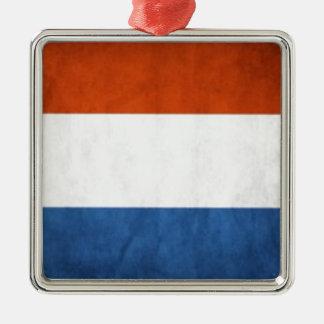 Drapeau néerlandais ornement carré argenté