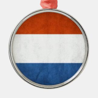 Drapeau néerlandais ornement rond argenté
