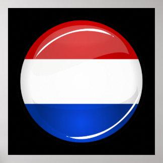 Drapeau néerlandais rond brillant poster