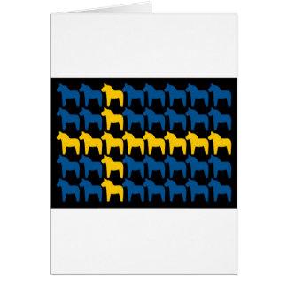 Drapeau noir de la Suède Dala Carte De Vœux