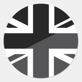 Drapeau noir et gris d'Union Jack les Anglais Sticker Rond