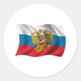 Drapeau onduleux de la Russie Sticker Rond