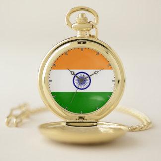 Drapeau patriotique de montre de poche de l'Inde
