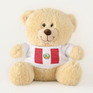 Drapeau patriotique d'ours de nounours du Pérou