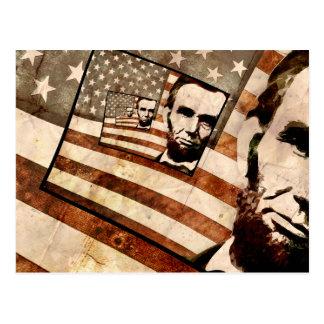 Drapeau patriotique du Président Abraham Lincoln Cartes Postales